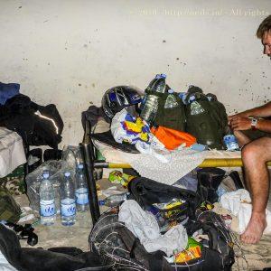 Craig packing his water bottles